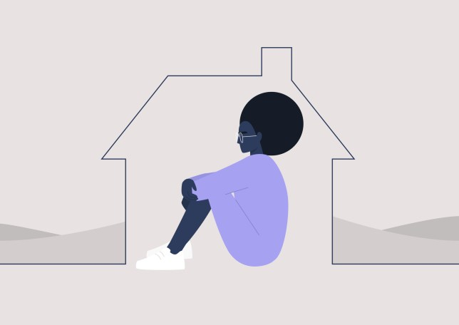 Young black female character self isolated at home, quarantine and social distancing