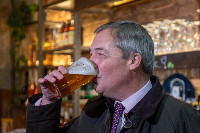<p>Brexit Party leader Nigel Farage enjoys a pint in The &nbsp;while on the campaign trail for the Brexit Party ahead of the General Election.</p>