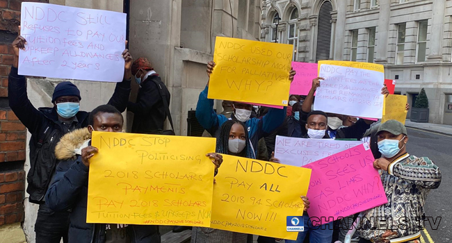 Nigerian Scholars In UK Protest NDDC Non-Payment Of Scholarship Fees