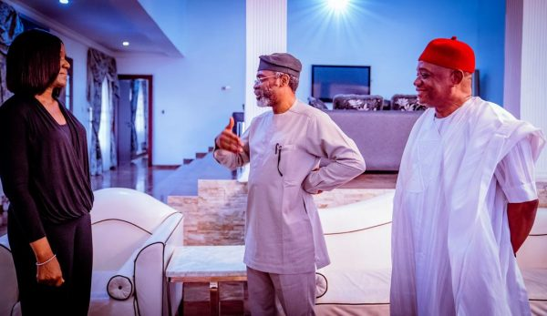 Reps Speaker Gbajabiamila visits Orji Kalu, celebrates wife's birthday