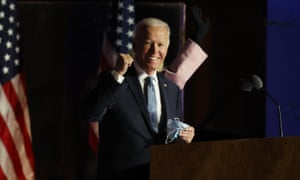 Democratic presidential candidate Joe Biden speaks to supporters on election night