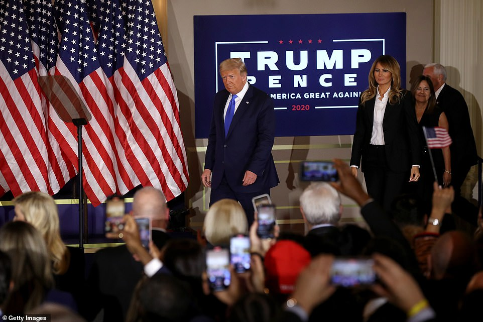 With the First Lady in tow, Donald Trump took the stage around 2.30am to declare victory and voter fraud