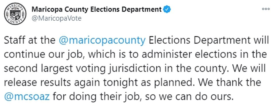 The Maricopa County center vowed that it would continue counting until the last update of the night