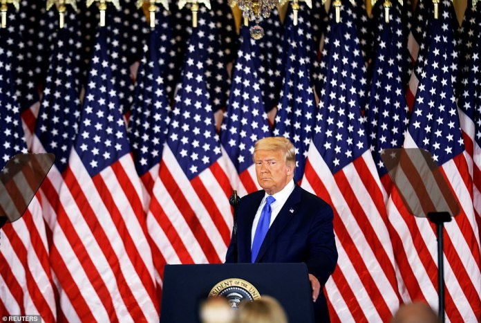 Donald Trump on Wednesday at 2.30am - the last time he was seen in public - declaring election victory despite many of the votes still being counted. He has vowed to go to the Supreme Court to challenge what he is calling a 'fraud' outcome so far