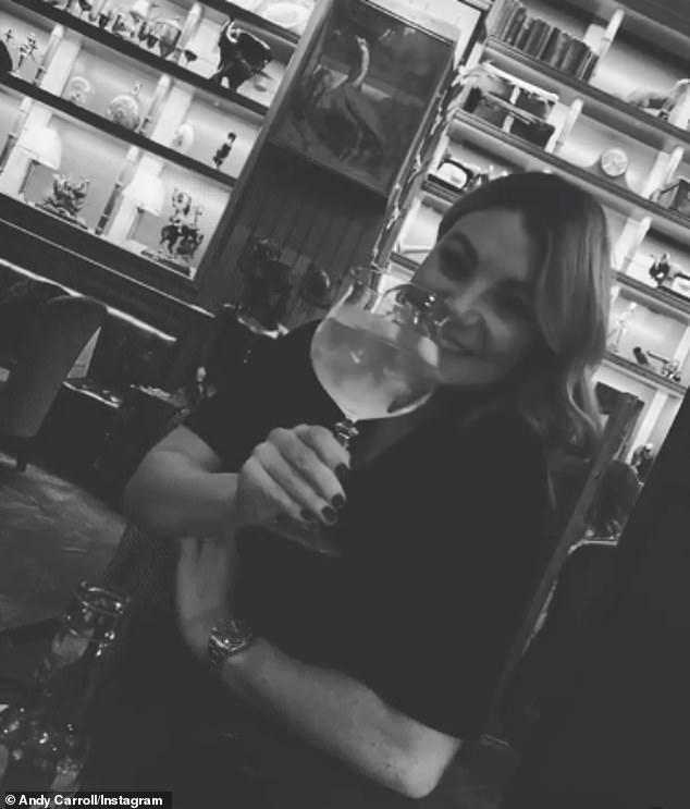 Smitten:Andy also shared a gushing birthday post to his wife-to-be on her birthday on Monday, which consisted of a montage of black-and-white photos