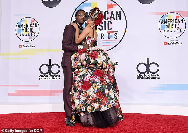 Better days: Cardi and Offset seen at the American Music Awards at Microsoft Theater in Los Angeles back in October 2018