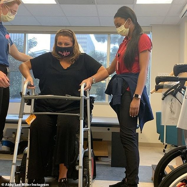 One day at a time: Miller has undergone extensive physical therapy in the hopes of walking again and is currently using a wheelchair for mobility