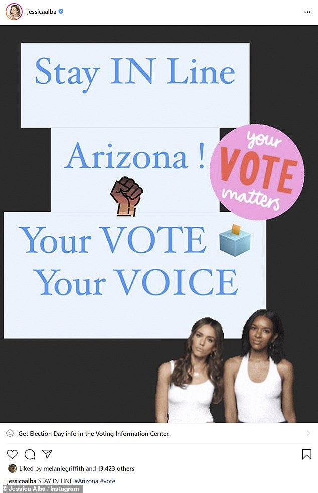 Advice: Jessica Alba tried to reassure voters in Arizona, one of the last states to end voting, that they could vote as long as they got in line before the polls closed