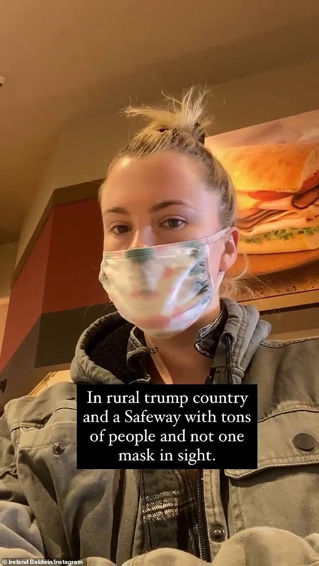 'Not one mask in sight': Ireland, who lives in Los Angeles, did not specify where exactly the incident took place, however she did tell followers she was 'in rural Trump country'