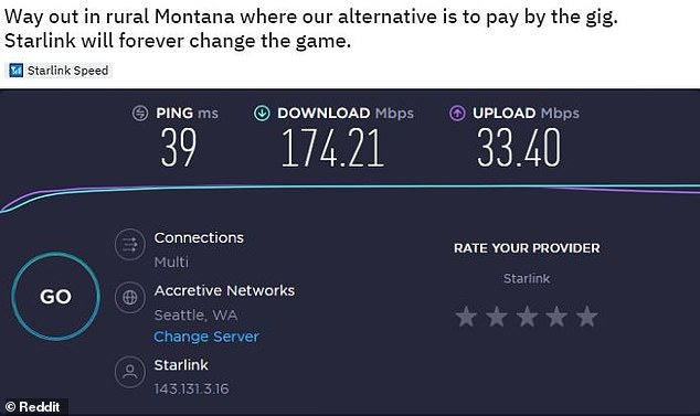 Another customer, who lives in Montana, shared a screen shot from the app that shows the service is providing download speeds of 174.21 Mbps and upload speeds of 33.40 Mbps