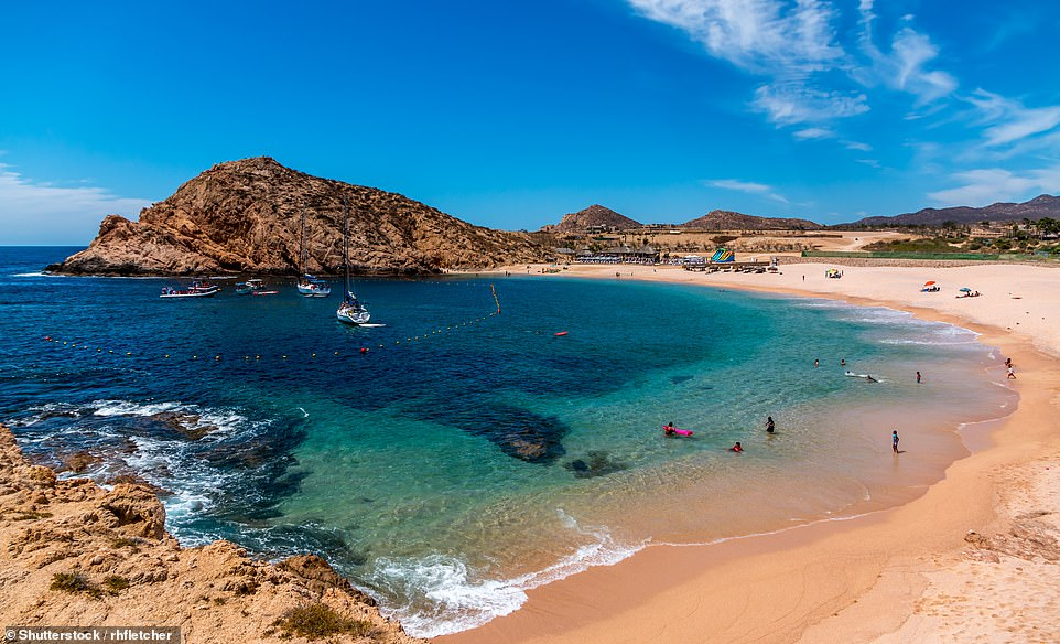 46. CABO SAN LUCAS, MEXICO: This resort on southern Mexico's Baja California peninsula is known for its 'dramatic stone cliffs and stunning sea arches', says Big 7 Travel. Pictured is Santa Maria beach