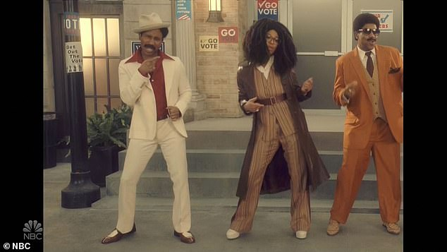Voters: Kenan returned in a pre-taped music video titled Strollin' with Ego Nwodim, Chris Redd and Punkie Johnson.'We're strollin' to the polls,' they sang