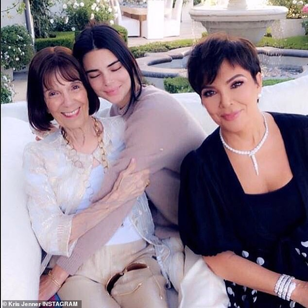 Three generations: Kendall hugged grandmother Mary Jo in a cute image with Kris