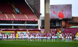 General view inside the stadium as Southampton and Aston Villa players observe a minute of silence to mark Armistice Day.