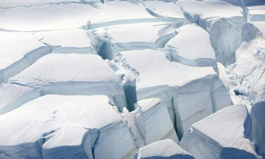 Melting point: cracks in the ice are a result of climate change.