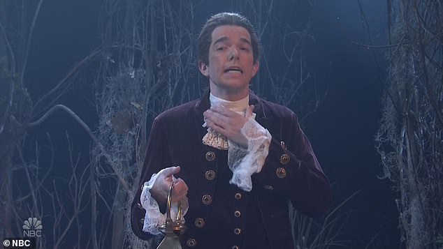 Old school: Mulaney was on screen after the break in a Sleepy Hollow skit, in which he played Ichabod Crane, while Beck Bennett was the Headless Horseman