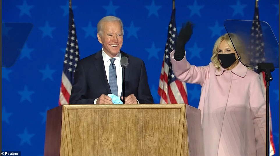Joe Biden's wife Jill stood by him as he proclaimed, 'it ain't over till every vote is counted, we're going to win this' despite losing Florida, Ohio and Texas