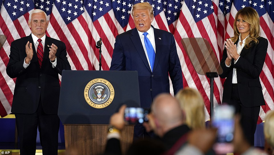 Vice President Mike Pence spoke after Trump's remarks and said he is confident Republicans will win the White House. Pence vowed to 'remain vigilant, as the president said'