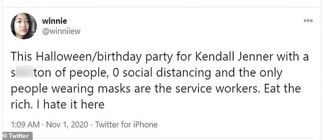 Eat the rich: Another Twitter user, @winniiew, added, 'This Halloween/birthday party for Kendall Jenner with a s**t ton of people, 0 social distancing and the only people wearing masks are the service workers. Eat the rich. I hate it here'