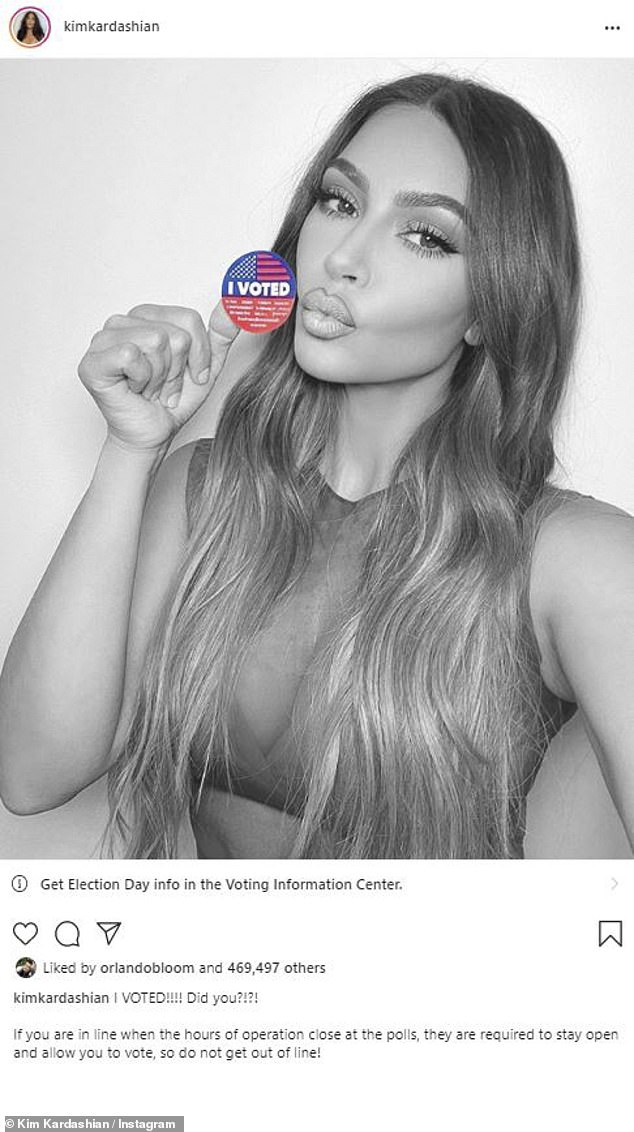 Change: Later the 40-year-old made her image black and white as the red top suggested she voted for pal Donald Trump