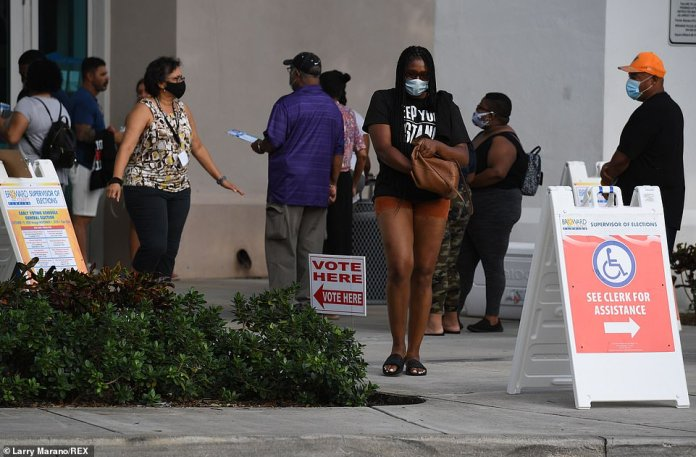 Voters wait in line Sunday during the last day of in person early voting in Miramar, Florida