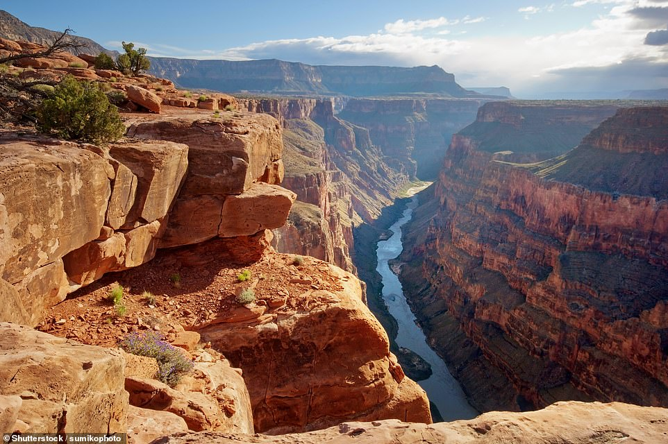 42. GRAND CANYON: This natural wonder is 277 miles long, 18 miles wide and a full mile deep. It makes the list as it 'leaves visitors breathless just due to its massive size', according to Big 7 Travel