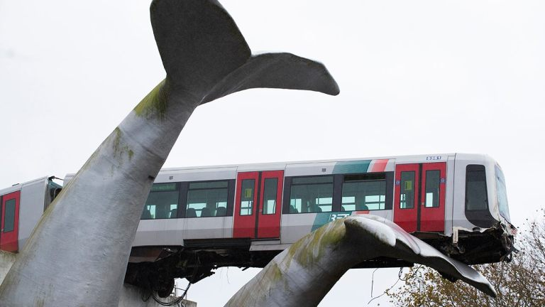 Whale tail structure catches runaway metro train in Netherlands