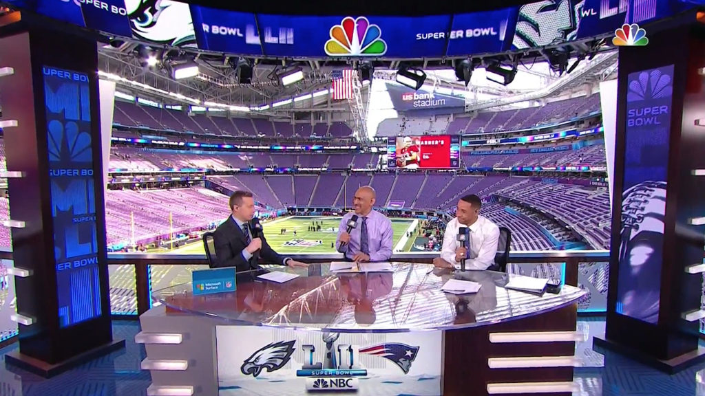 The Primary Area Included A Large Anchor Desk Reused From Nbcs Coverage Of Thursday Night Football And Super Bowl Xlix With Vertical Led Monitors