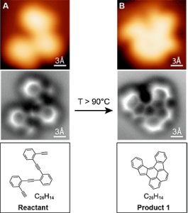 Het beeld van de atoomkrachtmicroscoop (midden) is een stuk duidelijker dan beelden die gemaakt zijn met een scanning tunneling microscoop (boven). Ze lijken erg op de bijhorende diagrammen (onder).  Bron: UC Berkeley