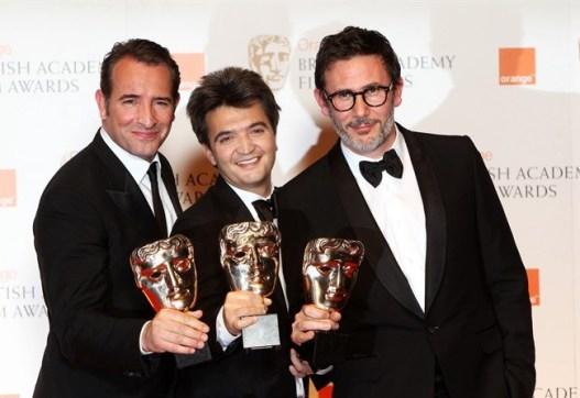 Jean Dujardin, Thomas Langman e Michael Hazanavicious - BAFTA 2012