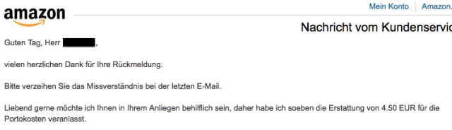 Amazon-Kundenservice Mail