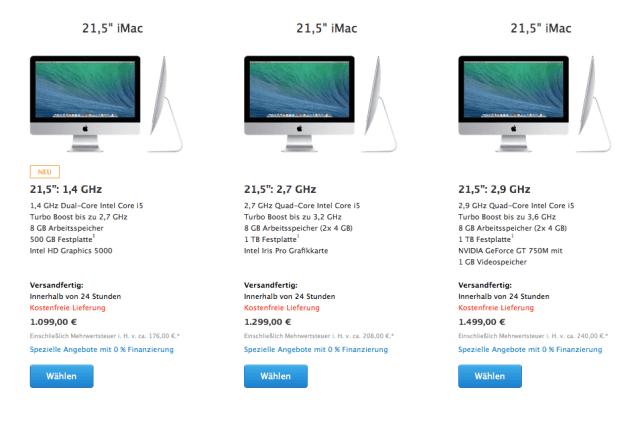 Apple iMac 21,5 Zoll 2014 - Technische Daten