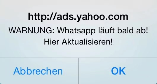 Werbung: WhatsApp läuft ab (Fake)