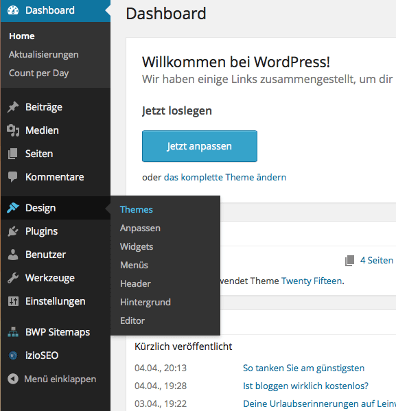 WordPress Dashboard (wp-admin)