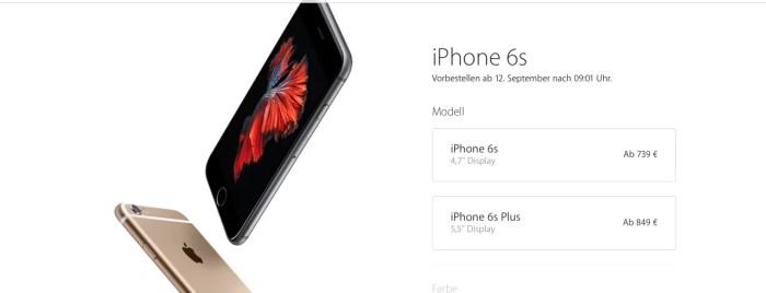 Preise iPhone 6s, iPhone 6s Plus