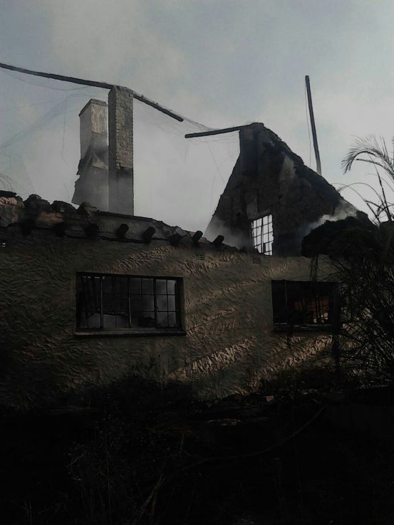 Part of Gono's farmhouse that was destroyed by the fire.