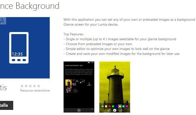 Nokia Rilascia Glance Background Per modificare lo sfondo di Glance