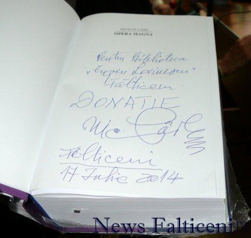 Falticeni-autograf pe carte donata