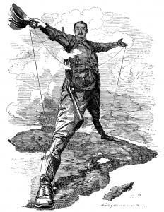 Cecil Rhodes (1853-1902), Βρετανός διπλωμάτης και πολιτικός. Καρικατούρα '' Ο Κολοσσός του Cecil Rhodes '', από το Κάιρο στο Κέιπ, σχεδόν ολόκληρη η ανατολική ακτή της αφρικανικής ηπείρου ανήκε στη βρετανική ηγεμονία.