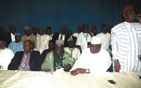 ATIKU, GOV AMAECHI AND OTHER LEADERS OF PDP ADDRESSING THE PRESS
