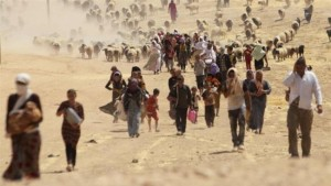 Members of the Izadi community are seen while fleeing into Syria to avoid ISIL terrorists.