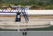 The photo taken on Dec. 23, 2014 shows part of Kpong water supply expansion project, some 80 kilometres from Accra, capital of Ghana. The project, which was launched in June 2011 by China Gezhouba Group Ltd (CGGC) at a cost of 273 million U.S. dollars and funded mainly by China Exim Bank in the form of preferential buyer's credit, has been completed by 99% . The project will produce 40 MGD of water at its full capacity by Feb. 2015, according to Ding Tao, the managing director of the Ghana Branch of CGGC. (Xinhua/Lin Xiaowei)