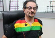 Jon Benjamin in a Ghana shirt