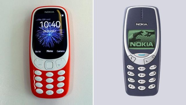 nokia 3310 australia. a combination photo of the new nokia 3310 and old version phone carrying australia e