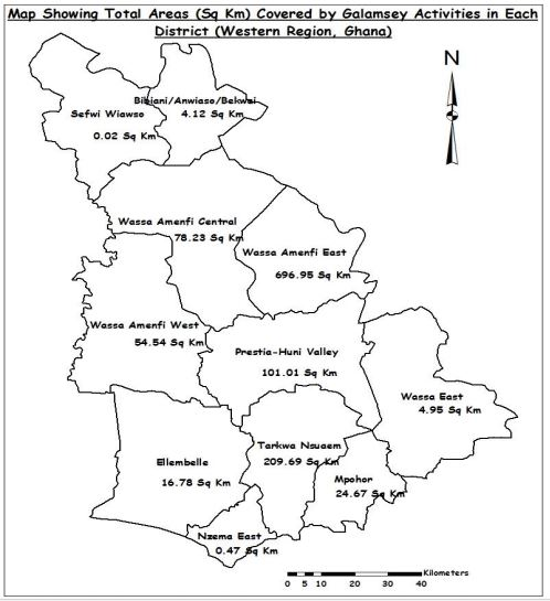 A map indicating the respective land sizes affected by galamsey in the eleven districts in the Western region under study