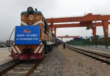Carting small commodities, clothing and other goods, China-Europe Railway Express No. X8024 (Yiwu-Madrid) trundled out of Yiwu West Station on May 13, 2017, a day before the Belt and Road Forum for International Cooperation kicked off. It was embarking on the 1,000th trip along the railroad freight line this year. A total of 612 more trips have been seen this year, up 158% compared with the same period last year. (Photo by People.cn)