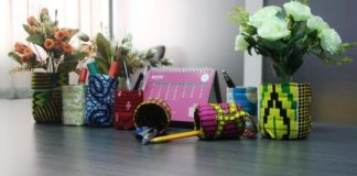 Some of the finished products from recycled pastic bottles made by the students