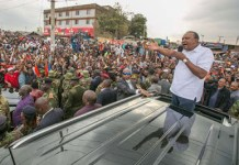 Kenya President Uhuru Kenyatta addresses crowd on Sept. 1, 2017