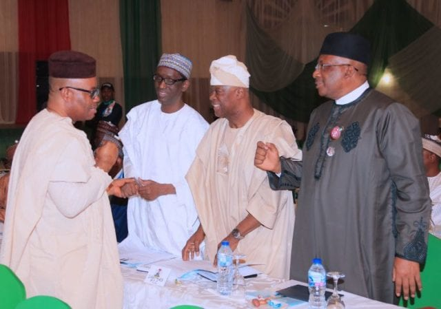 Governor of Akwa Ibom State and APC Chieftain, Sen Godswill Akpabio, Former EFCC Chairman Nuhu Ribadu, APC Dircetor of Finance, Olawal Edun and Minister of Interior, Lt Gen Abdulrahman Danbazzau during the Inaugural meeting of APC 2019 Presidential Campaign Council held at the Presidential Banquet in Abuja. PHOTO; SUNDAY AGHAEZE. JAN 10 2019