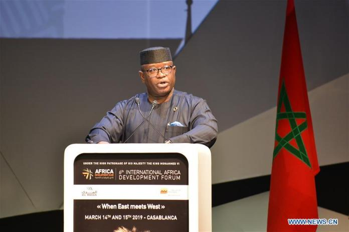 Sierra Leone's President Julius Maada Bio, whose country is the guest of honor, speaks during the opening session of the sixth International Africa Development Forum (FIAD) in Casablanca, Morocco, on March 14, 2019. The sixth FIAD kicked off Thursday in the Moroccan city of Casablanca under the theme